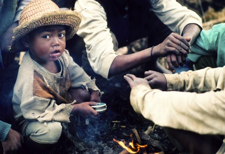 Evening fire, Fianarantsoa, Madagascar