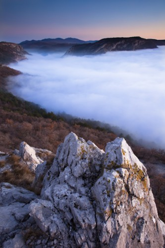 Val Rosandra in the fog, Carso ,Trieste, Italy